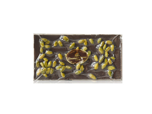 70% black chocolate tablet without sugar and with pistachios